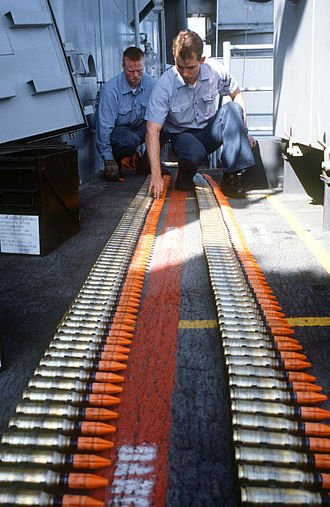 A 1987 photo of Mark 149 Mod II 20mm depleted uranium ammunition for the Phalanx CIWS aboard the USS Missouri.