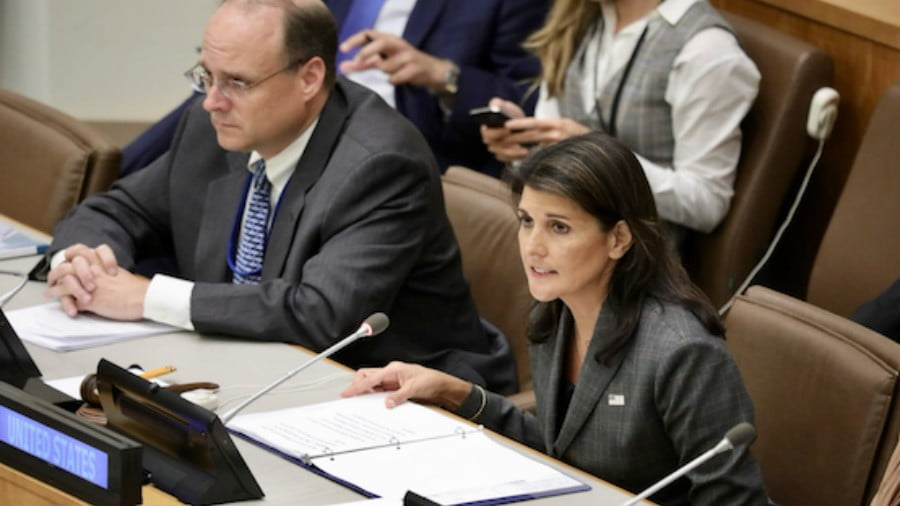 U.S. Ambassador to the UN Nikki Haley at the UN this week. (Twitter/Nikki Haley/U.S. Govt)
