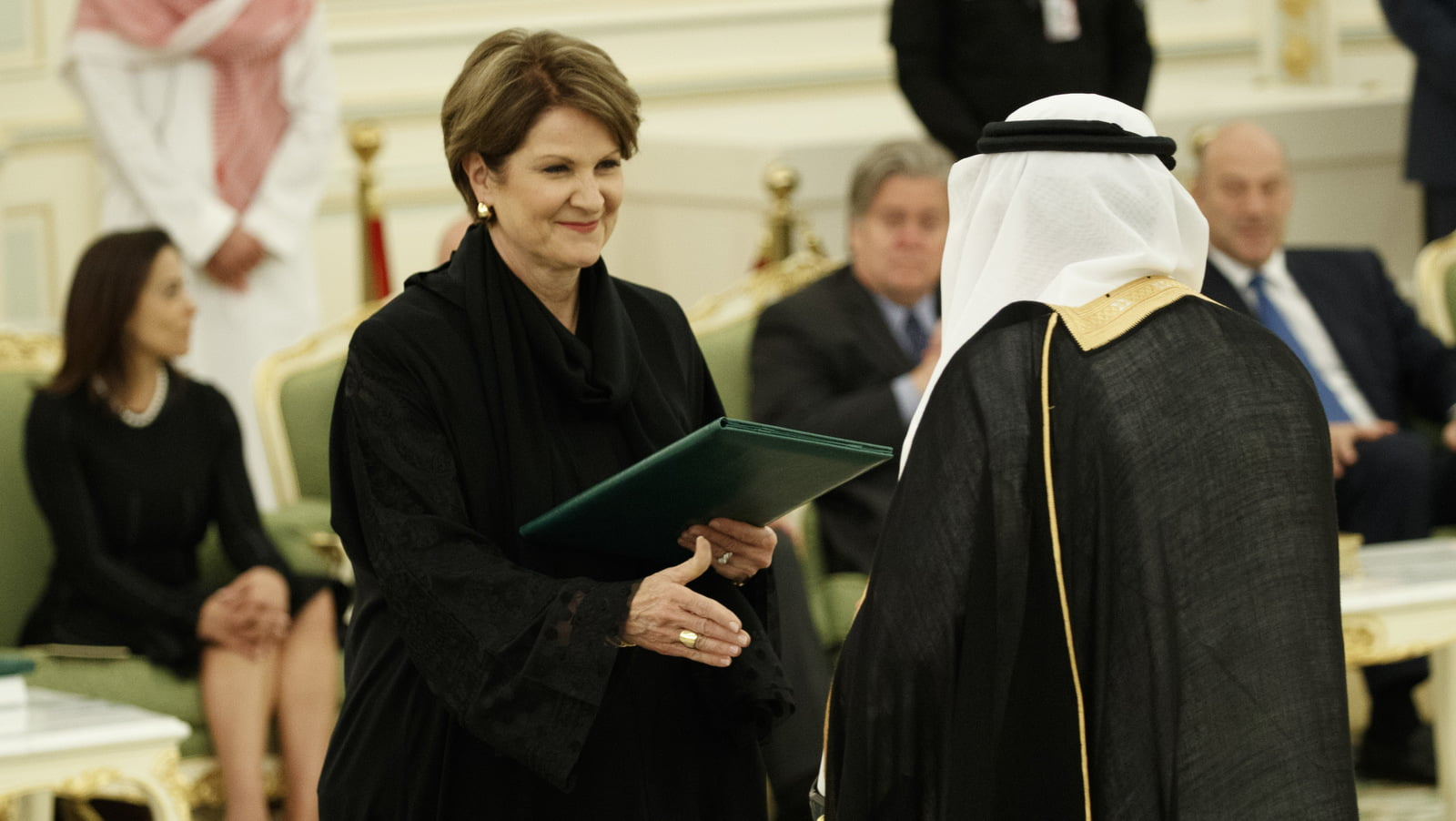 Lockheed Martin CEO Marillyn Hewson participates in a signing ceremony between President Trump and Saudi King Salam, May 20, 2017, in Riyadh. Evan Vucci | AP