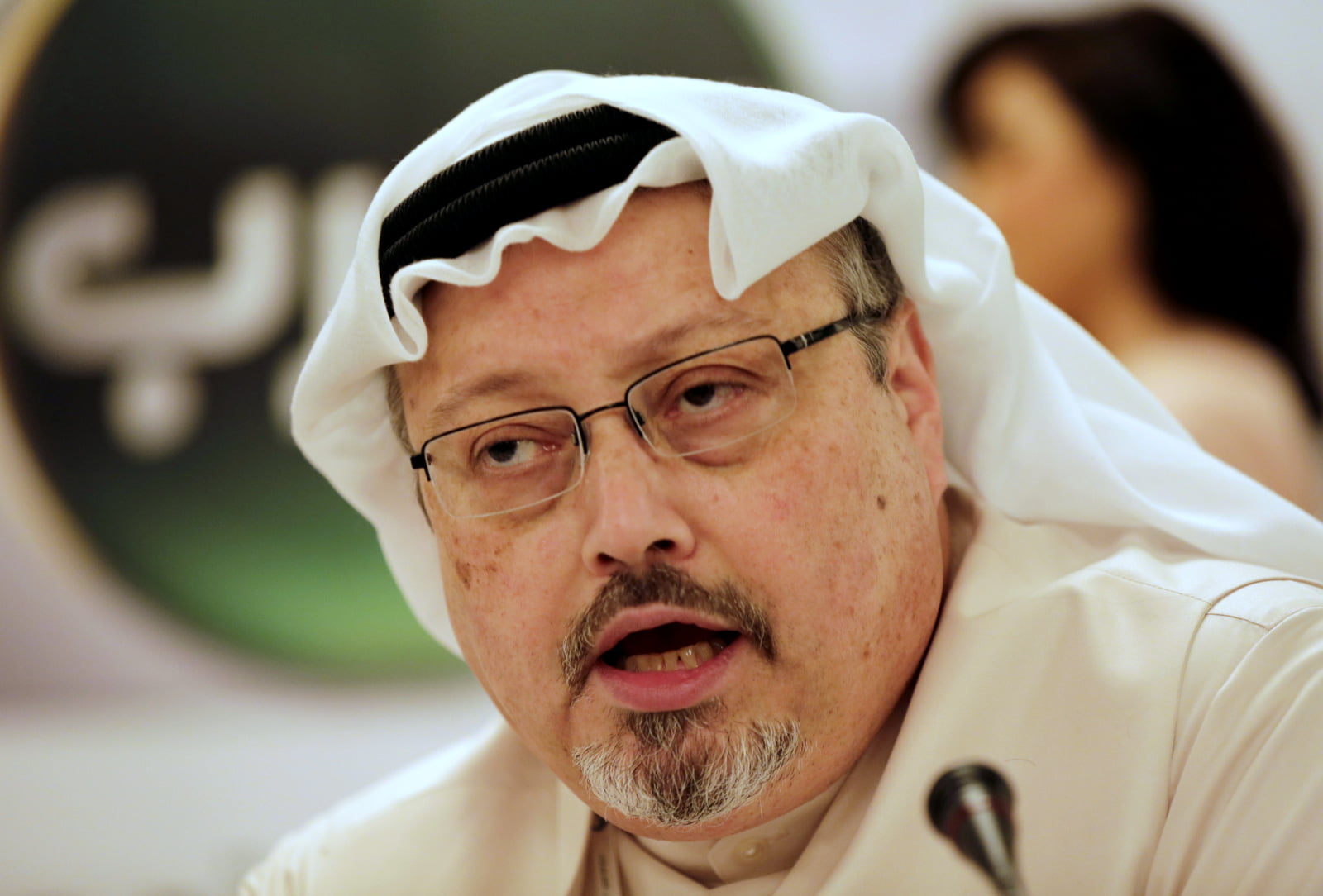 Jamal Khashoggi speaks during a press conference in Bahrain, Dec. 15, 2014. Hasan Jamali | AP
