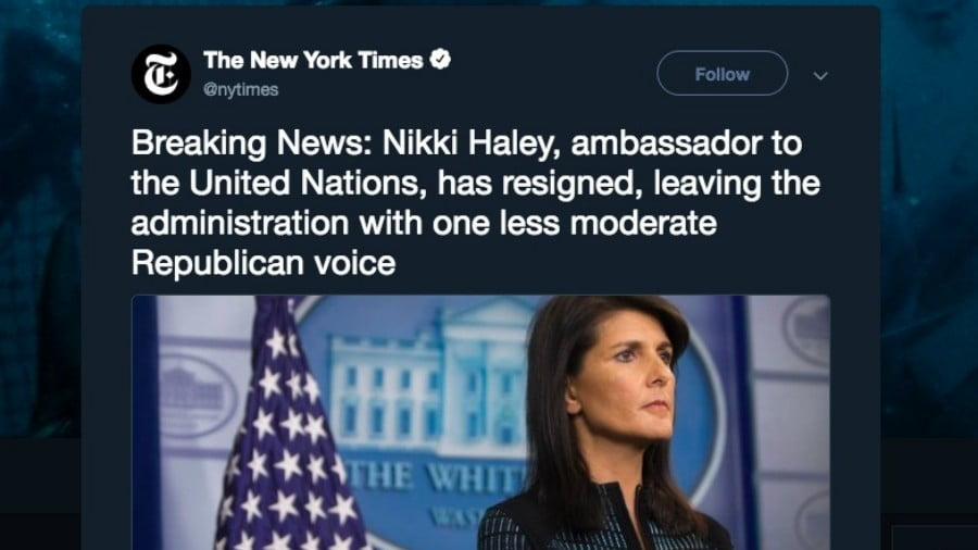 Empire Loyalists Grieve Resignation of Moderate Psychopath Nikki Haley
