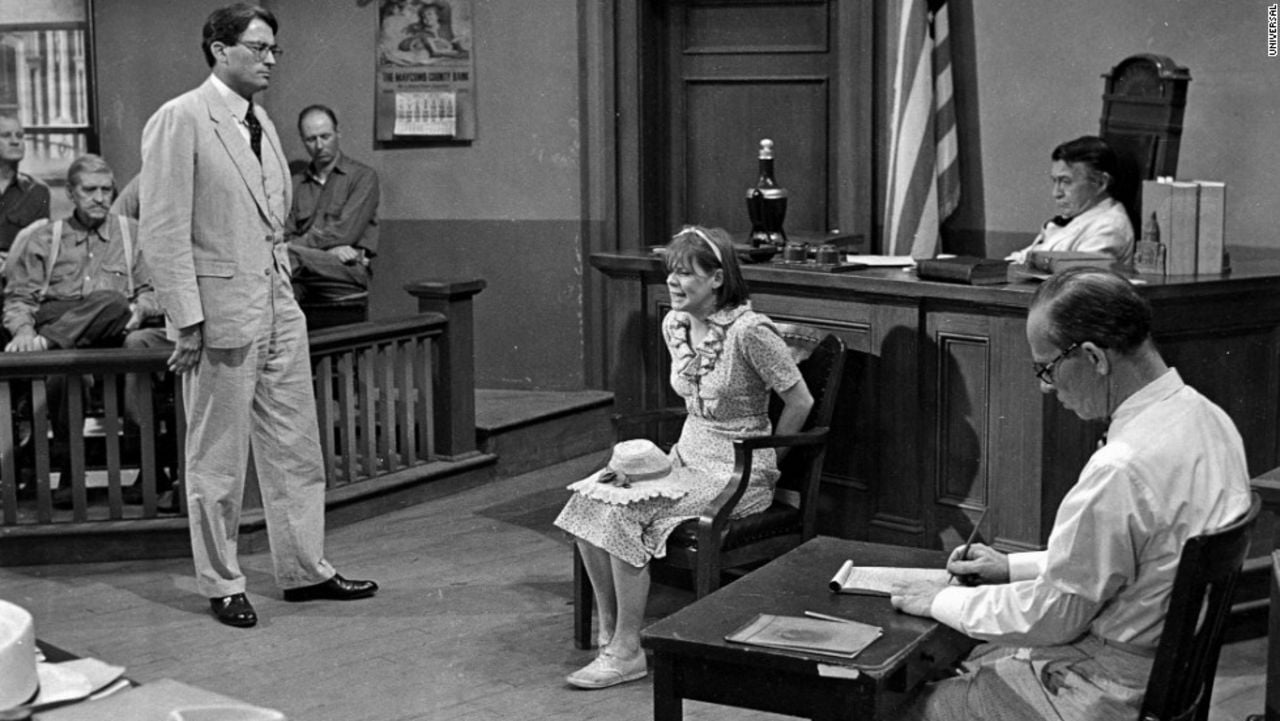 Gregory Peck as Atticus Finch cross-examines Mayella Ewell in the 1962 film version of To Kill a Mockingbird