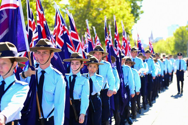 Cadets march in the 2014 ANZAC day parade (Picture: Flickr/Chris Phutully)