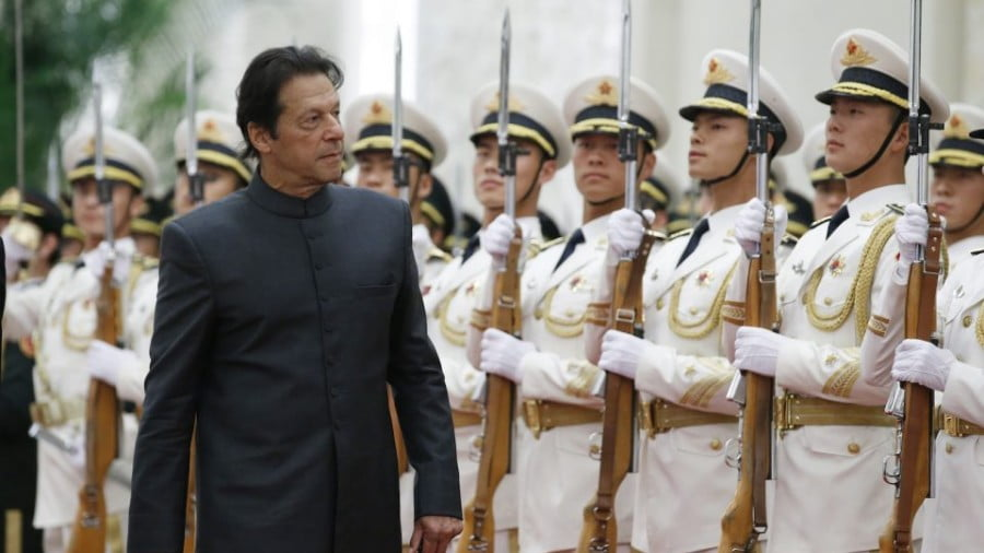 Pakistani Prime Minister Imran Khan attends a welcome ceremony in Beijing on November 3, 2018. Photo: AFP / Jason Lee/ pool