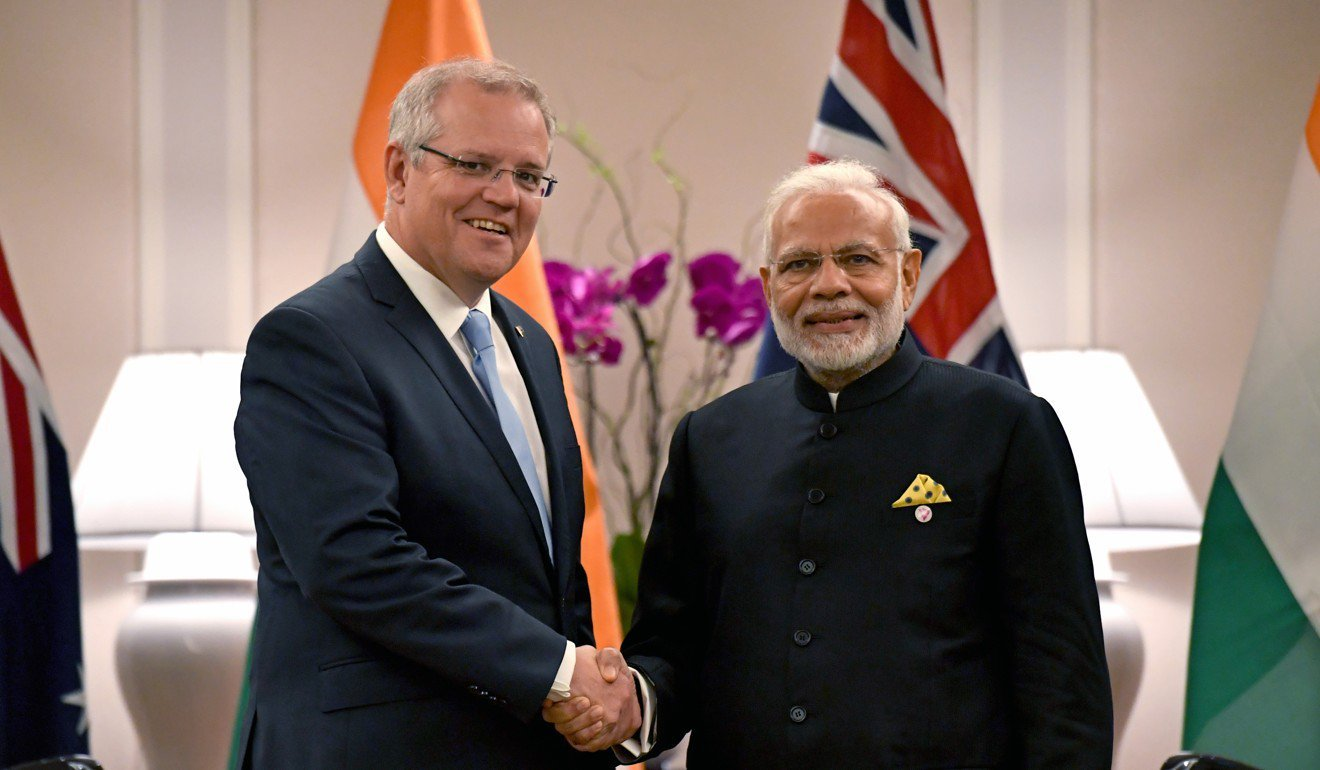 Australian Prime Minister Scott Morrison and Indian Prime Minister Narendra Modi. Photo: EPA