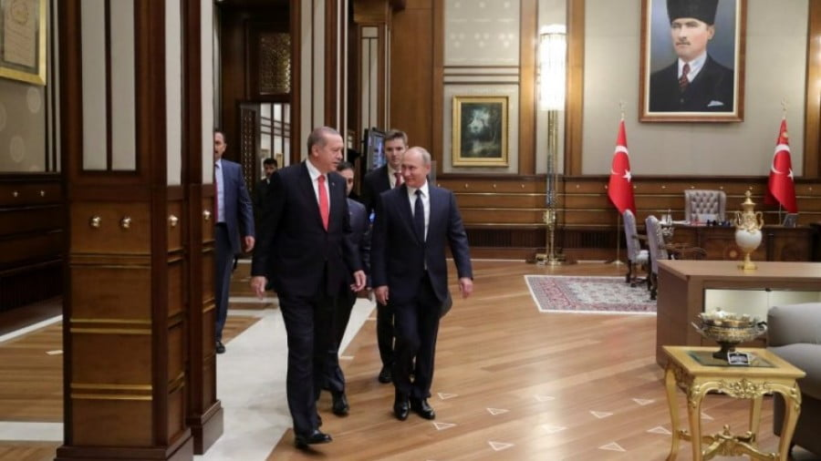Turkish President Tayyip Erdogan and Russian President Vladimir Putin meet at the Presidential Palace in Ankara, Turkey, on September 28, 2017. Photo: Sputnik / Mikhail Klimentyev / Kremlin via Reuters