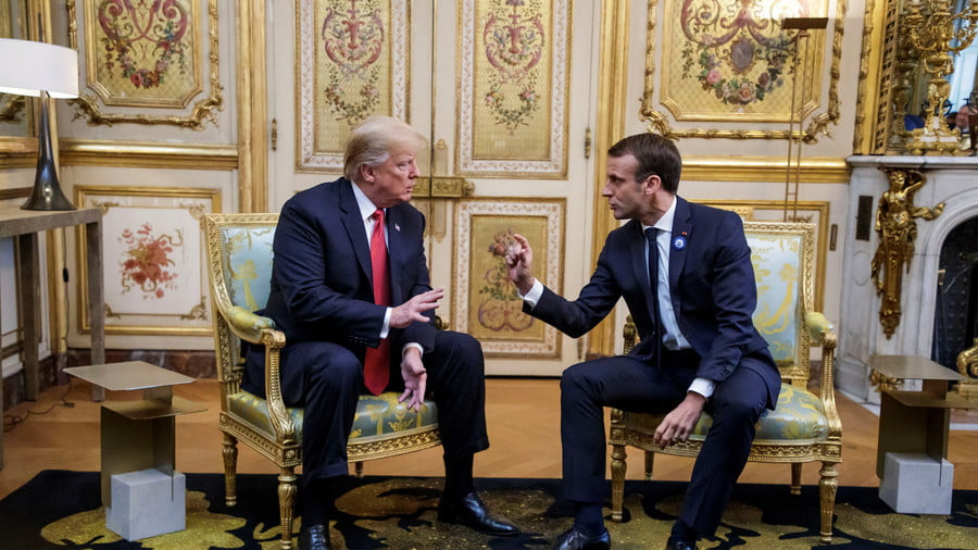 Donald Trump and Emmanuel Macron at Elysee presidential palace, Paris, France, November 10, 2018 © Reuters / Christophe Petit Tesson