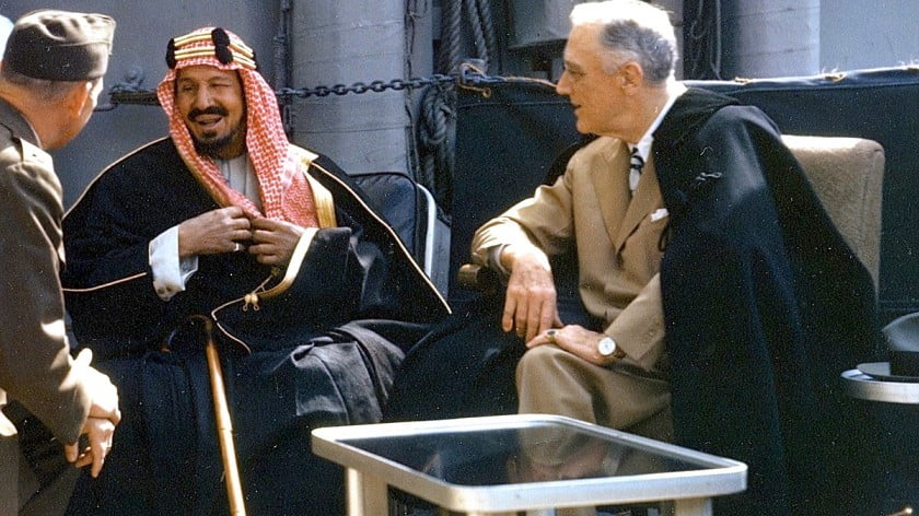 FDR: Making deal with Saudis that still governs the nations' relations.