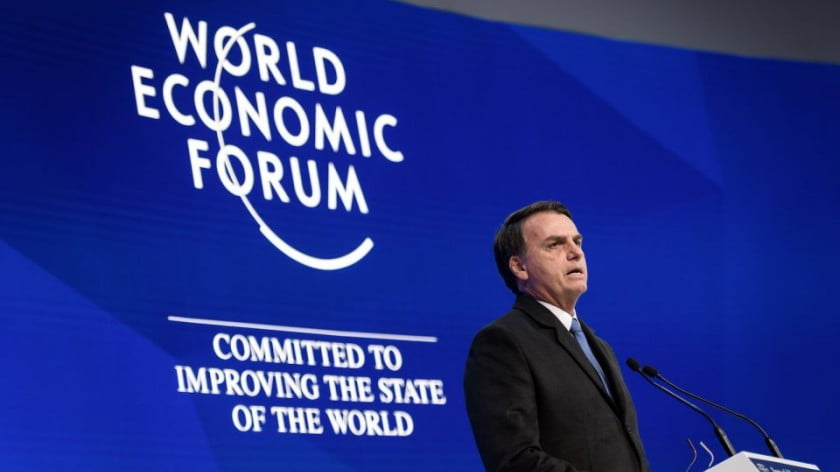 Brazilian President Jair Bolsonaro gives a keynote address to the World Economic Forum annual meeting on January 22, 2019 in Davos, Switzerland. Photo: AFP / Fabrice Coffrini