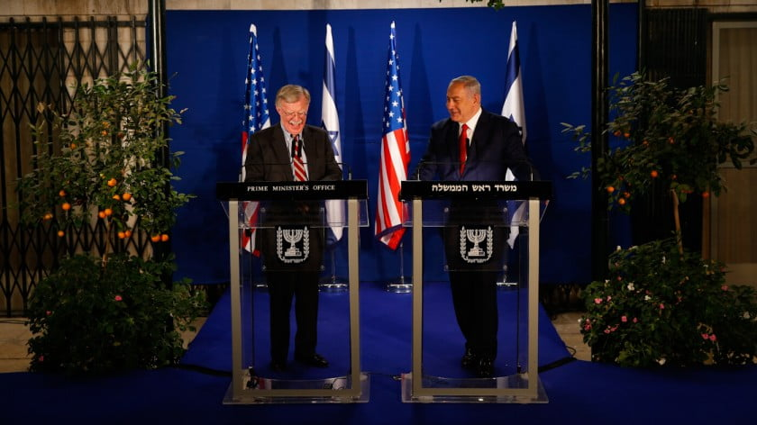 Israeli Prime Minister Benjamin Netanyahu, right, and US National Security Advisor John Bolton, speak to the media after their meeting in Jerusalem, Jan. 6, 2019. Oded Balilty | AP