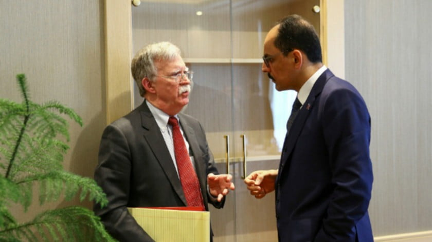 John Bolton (L) and Ibrahim Kalin, during their meeting in Ankara on Tuesday (Reuters)