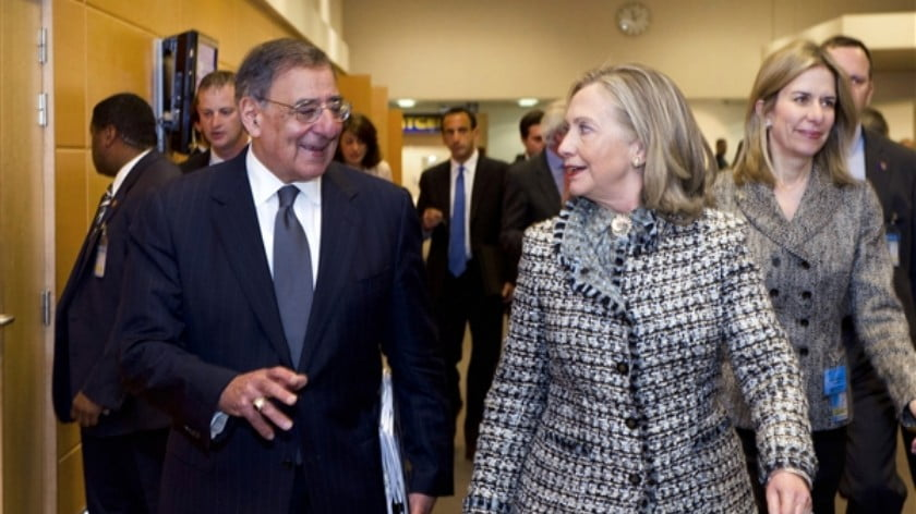 Defense Secretary Leon E. Panetta talks with Secretary of State Hillary Rodham Clinton at NATO Headquarters in Brussels, April 18, 2012. (DOD photo by Erin A. Kirk-Cuomo )