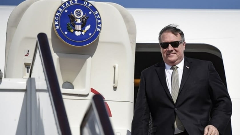 US Secretary of State Mike Pompeo lands at Manama International Airport in Bahrain last week (AFP)