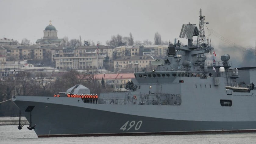 The frigate Admiral Essen from Russia's Black Sea Fleet returns to the permanent naval base in Sevastopol, Crimea. It was part of Russia's Mediterranean taskforce from August 2018, spending about 300 days at sea. Photo: AFP/ Alexey Malgavko / Sputnik