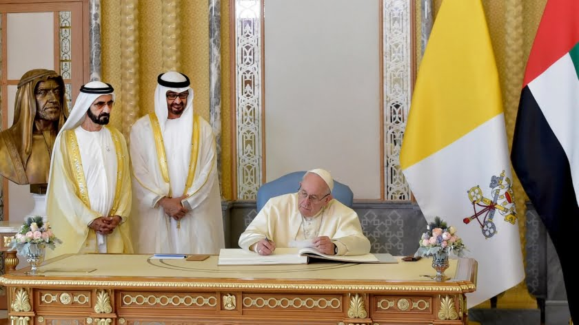 Welcome ceremony for the visiting Pope Francis at the UAE presidential palace in the capital Abu Dhabi on 4 February, 2019.