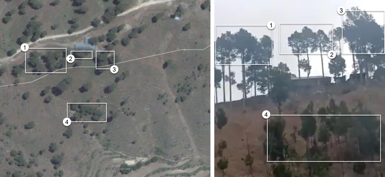 Comparison of satellite imagery and footage from the ground. (Sources: Google Maps, @ashoswai/archive)