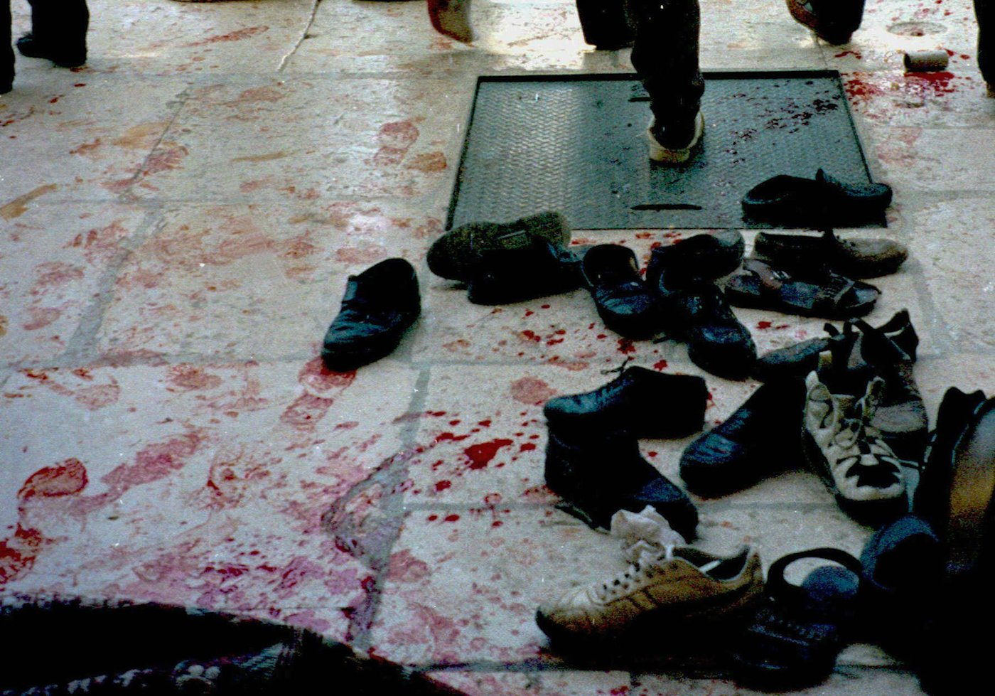 Blood-stained footmarks mark the entrance to Al Aqsa Mosque after Israeli police opened fire on Palestinian worshipers in 1996. Khaled Zighari | AP