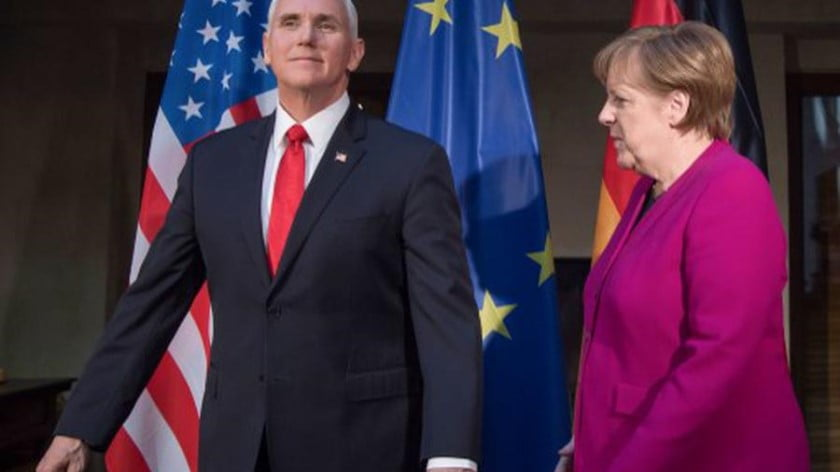Merkel's in Beijing, Pence is in Poland