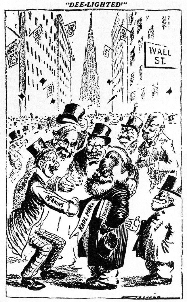 Marx being congratulated by Wall Street bankers (1911 cartoon reproduced by Sutton)