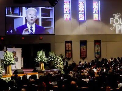 The likely Democratic candidate, Joe Biden - whose proximity to the Pentagon has already earned him the vice-presidency of Barack Obama- speaks by video at the funeral of George Floyd. The media reports on an anti-racist ceremony. However, maintaining order for the Christian celebration was entrusted to the Nation of Islam, in solidarity with the black community. This organization lives in a closed circuit and prohibits interracial marriages for its members.