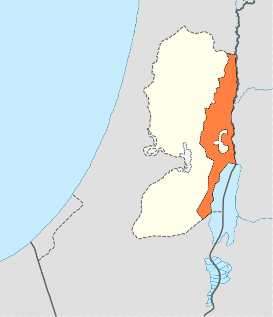 Orange indicates Jordan Valley area to be annexed by Israel under the September 2019 proposal by Israeli Prime Minister Benjamin Netanyahu. (Adapted by Nice4What from map created by NordNordWest, CC BY-SA 3.0, Wikimedia Commons)