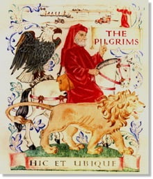 The logo of the very powerful Pilgrim's Society: the Pilgrim Father is depicted alongside the British lion and the American eagle