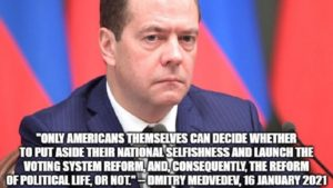 Medvedev To Americans: 'Only You Can Put Aside Your National Selfishness'!